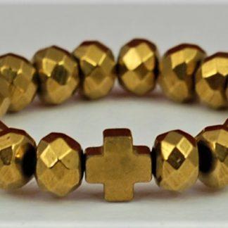 Pierścionek hematyt złoty krzyż